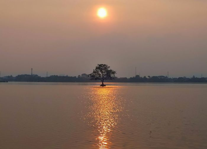 Sunset Reflection Silhouette Orange Color Lake Tree One Person Sky Water Outdoors People Beauty In Nature Sunlight Adult Nature Scenics Adults Only One Man Only Full Length Only Men Landscape Landscape_photography beautifull sunset. Lost In The Landscape