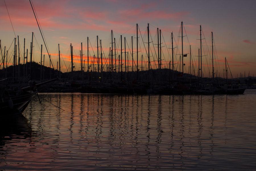 Bodrum Harbour Reflection Sunset Turkey Water