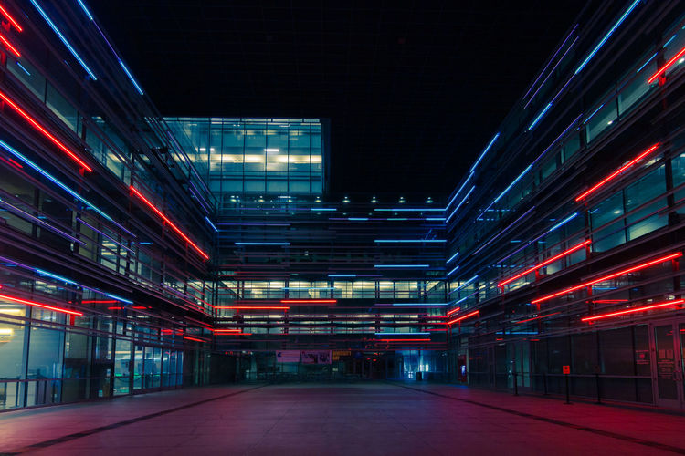 Architecture Illuminated Built Structure No People Night Building Building Exterior Red Neon Modern Perspective