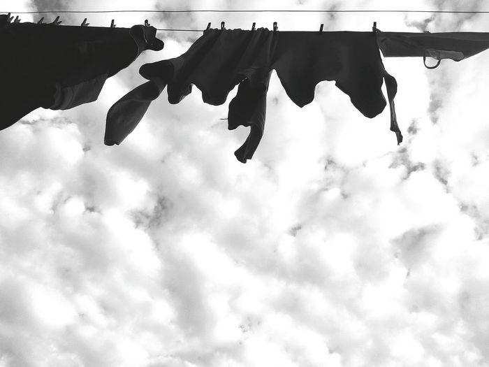 Hanging Low Angle View Sky Clothesline Cloud - Sky Clothespin Laundry Outdoors No People Day Drying Silhouette