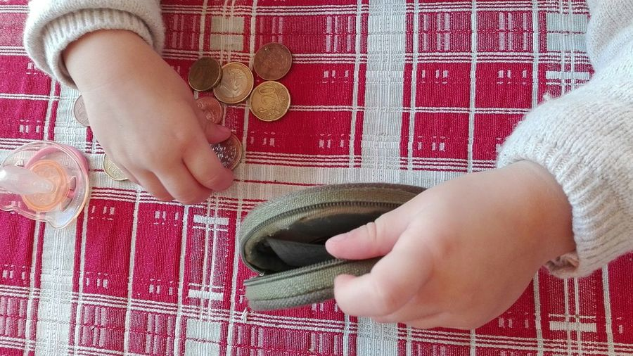 Low section of girl holding coin purse