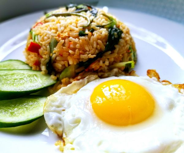 Food And Drink Food Healthy Eating Plate No People Indoors  Freshness Seafood Ready-to-eat Close-up Day Egg White Plate White Plate With Food Nasi Goreng Nasi Goreng Kampung EyeEmNewHere
