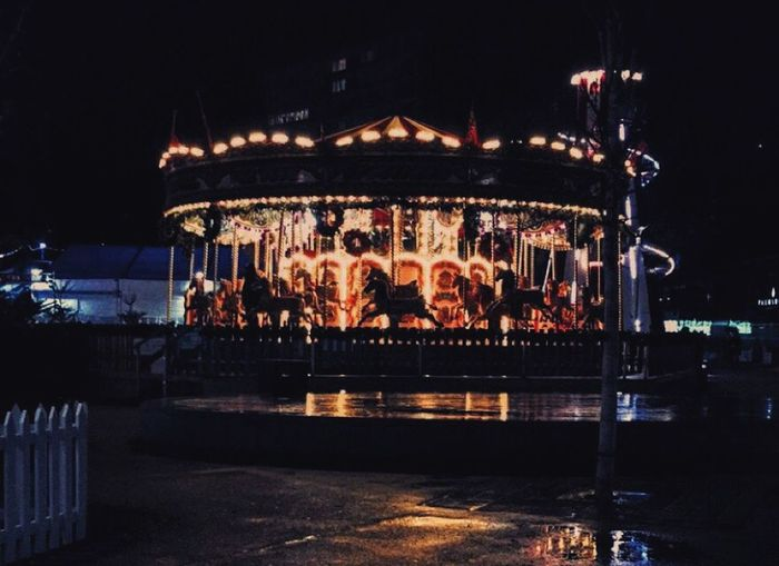 Merrygoround Lights Fairground Vintage Photo
