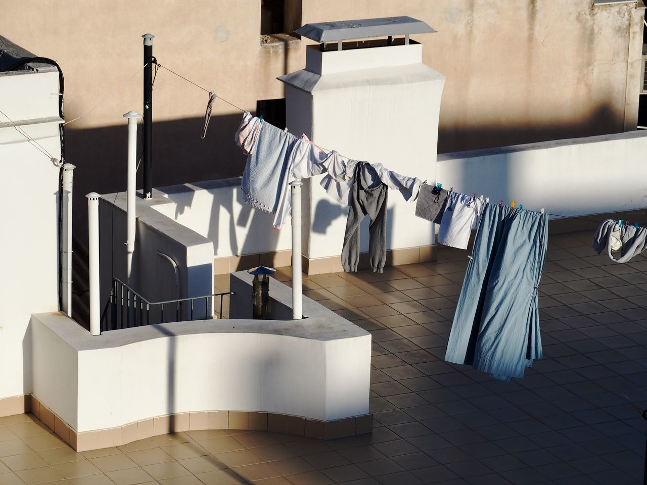 High angle view of clothesline on terrace