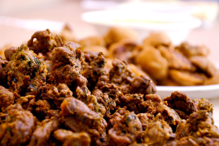 Close-up of food,pakora in plate in wedding party