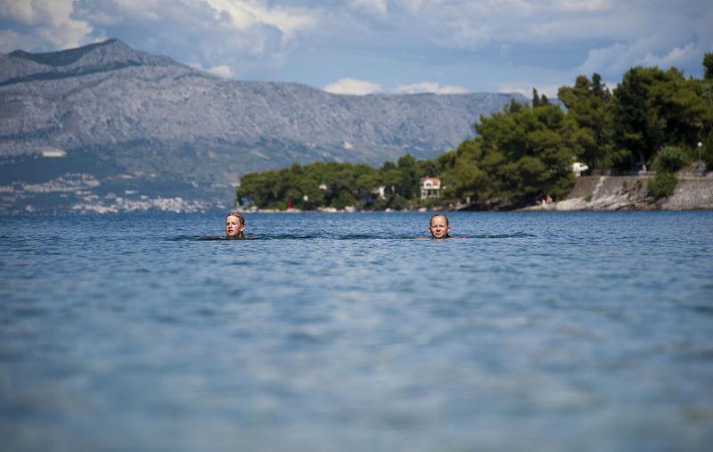 Croatia Holiday Postira Splitska Swimming Adriatic Sea Boy Brac Dalmatia Day Girl Hrvatska Lifestyles Mountain Nature Outdoors People Real People Scenics - Nature Sea Tranquil Scene Water Waterfront