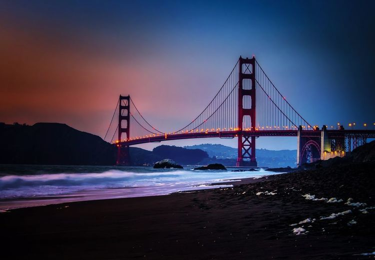 Scenic view of golden gate bridge during sunset