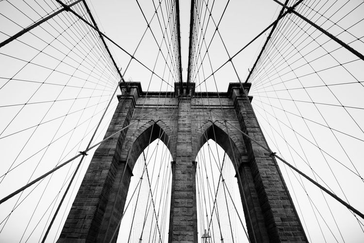 Brooklyn Bridge black and white, simmetry. Brooklyn Bridge / New York NY NYC New York USA Architecture Black And White Blackandwhite Bridge - Man Made Structure Bw City Connection Day Iconic Low Angle View No People Outdoors Simmetry Steel Stone Suspension Bridge Travel Travel Destinations Urban Wires