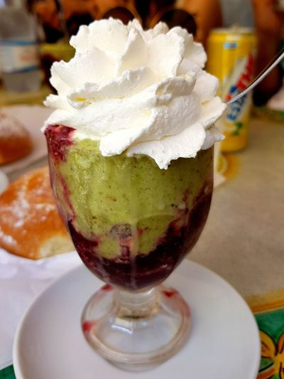 Sicily #caltagirone Granita Al Pistacchio Granita Caltagirone Ice Cream Sundae Ice Cream Frozen Food Scoop Shape Cold Temperature Dessert Drinking Glass Table Frozen Sweet Food Dessert Topping