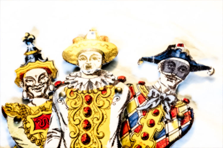 Old fashioned harlequin puppets. Clown Hat Old Fashioned Puppets Victorian Art And Craft Children's Toys Close-up Clowns Harlequin Multi Colored No People Pirot