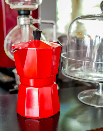Moka Cafe Coffee Coffee Maker Coffeeshop Food And Drink Kitchen Mokapot Pot Red