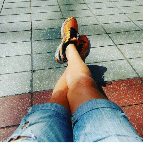 Out Of The Box Low Section Human Leg Text Human Foot Asics High Angle View Sandal Standing Day People Real People Adult Lifestyles Adults Only Outdoors Close-up