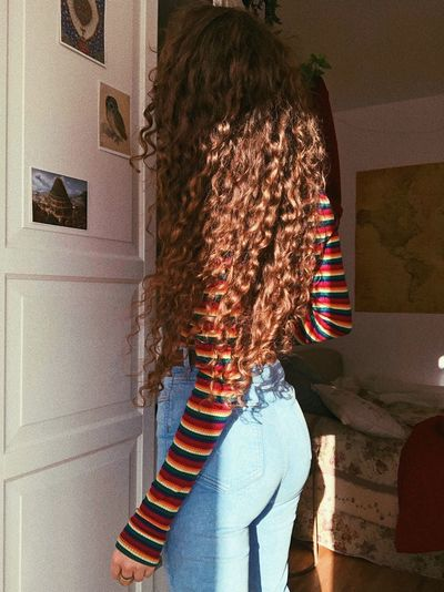 Millenials Home Curls Highwaisted Stripes Instagramer Vintage Style Natural Hair Long Hair Curly Hair Nature Shadow Wall - Building Feature Architecture Sunlight Jeans Women Casual Clothing