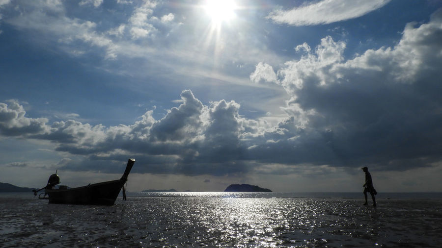 Koh Siboya Thailand Beauty In Nature Cloud - Sky Day Horizon Over Water Men Nature Nautical Vessel Outdoors People Real People Scenics Sea Silhouette Sky Sun Sunlight Sunset Tranquil Scene Tranquility Transportation Water