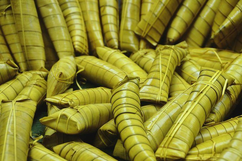 Full Frame Shot Of Suman Food In Leaves
