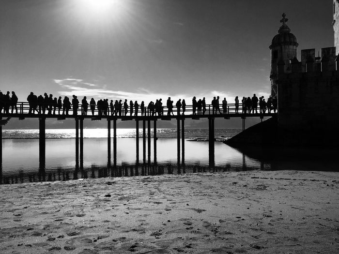 Silhouettes... Large Group Of People Sky Sunlight Tourism Outdoors Day Travel Destinations Clear Sky Blackandwhite Black And White Lisboa Light And Shadow Monochrome Lisbon Silhouettes Silouette & Sky