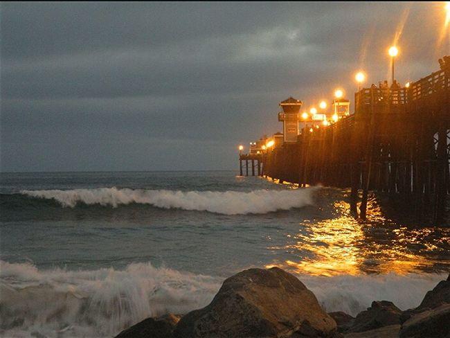 Night shot of Oceanside Pier . Mobilephotography Eye4photography  Beesofeyeem Sunsetwalk Beach Photography Sandiego_ca
