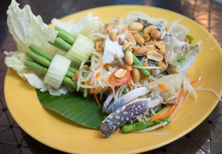 Close-Up Of Fresh Papaya Salad And Crab Served On Table