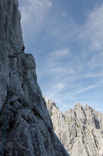 Nordkante Adventure Beauty In Nature Cliff Climbing Cloud - Sky Day Extreme Sports Geology Hiking Landscape Mountain Mountaineering Nature Outdoors Physical Geography Predigtstuhl Ridge Rock - Object Rock Climbing Rock Face Scenics Steep Travel Destinations Wilder Kaiser