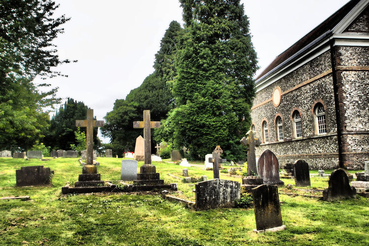 Hell Fire Club Two Crosses West Wycombe Church Architecture Cemetery Cross Day Grass Gravestone Graveyard Memorial Nature No People Outdoors Sky Spirituality Tombstone Tree