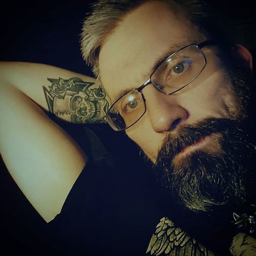 A little time for contemplation. Beardsandtattoos Greyhair  Bpdfam Bearded Beardporn Uk Beards Beard Pognophiles Smile Beardgame Beardedmen Beardlovers Melancholy Instabeard Motörhead Livetowin Metalhead Volbeat ACDC Thoughts Aceofspades