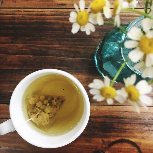 High angle view of chamomile tea