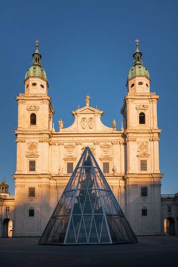 The salzburg cathedral captured in beautiful sunset light, salzburg, austria.
