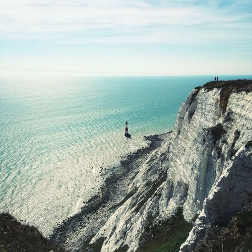 Sea Horizon Over Water Water Scenics Tranquil Scene Beach Beauty In Nature Tranquility Sky Seascape Nature Cliff Idyllic Shore Solitude Outdoors Remote Coastline Cloud Tourism Lighthouse White Cliffs