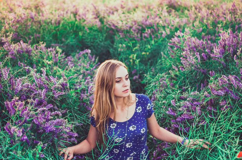 Slim girl walks on tall grass overgrown with purple flowers. women's blue dress white daisy print