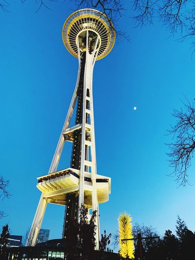 Seattle so beautiful afternoon Sky! Seattle, Washington Seattle Sky Low Angle View Blue Amusement Park Amusement Park Ride Nature Architecture Tall - High No People Clear Sky Outdoors First Eyeem Photo