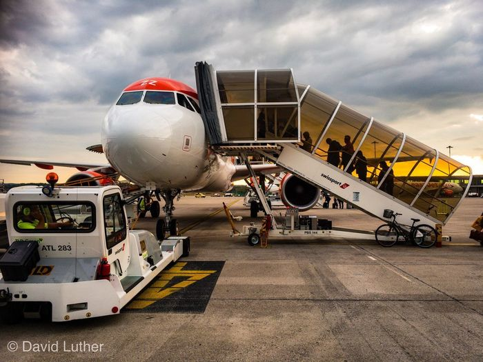 EasyJet Travel Clouds And Sky Sunset Bsl Gangway Boarding Airbus Airport