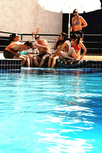 So much fun for a sunday Swimming Pool Water Young Adult Party - Social Event People Togetherness Brazil City Laughs Fun Fullfillment