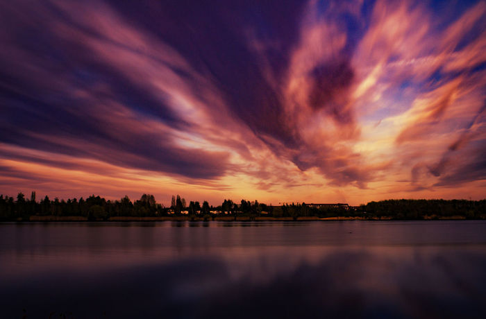 Beauty In Nature Cloud - Sky Day Dusk Lake Nature No People Orange Color Outdoors Reflection Scenics Silhouette Sky Sunset Tranquil Scene Tranquility Tree Water