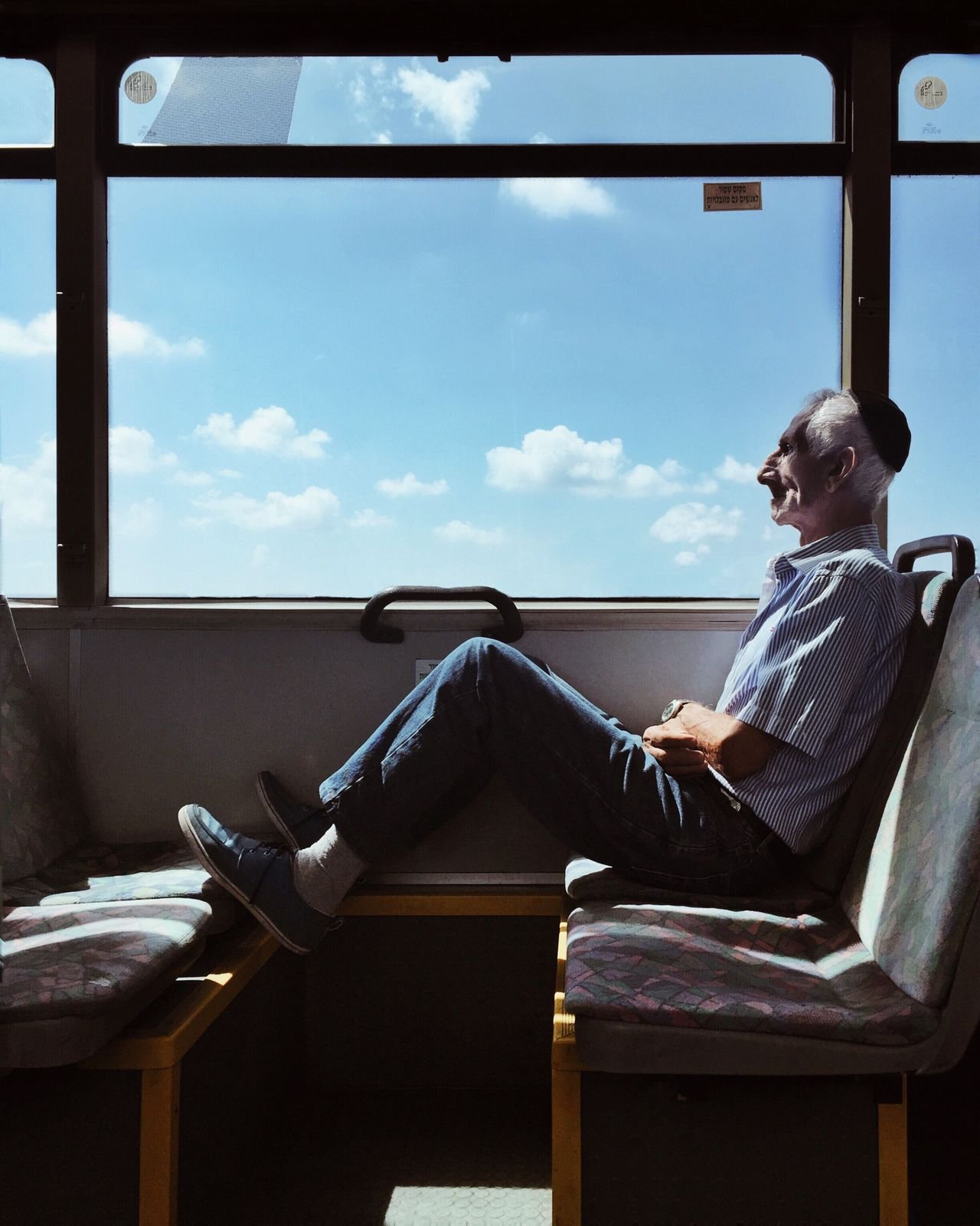 sitting, chair, window, one person, sky