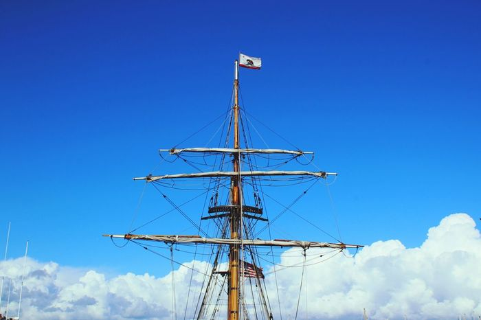 Lines Technology Clear Sky Sky Low Angle View Nature No People Outdoors Clouds Sail Boat Ship Sailing Californiaadventures Up High Tip Top On The Tip California Flag Wood Man Made Sturdy And Strong Blue Sky Blue Sky White Clouds