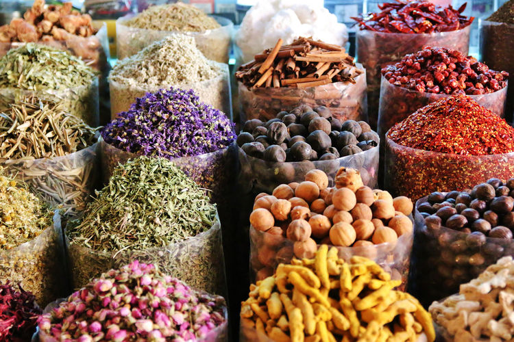 Various spices for sale in market