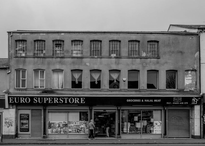 Euro Superstore, Kettering Road, Northampton Building Exterior Architecture Black And White Northampton Industrial Landscapes Monochrome Photography FUJIFILM X-T2 Monochrome Built Structure Shop Kettering Road