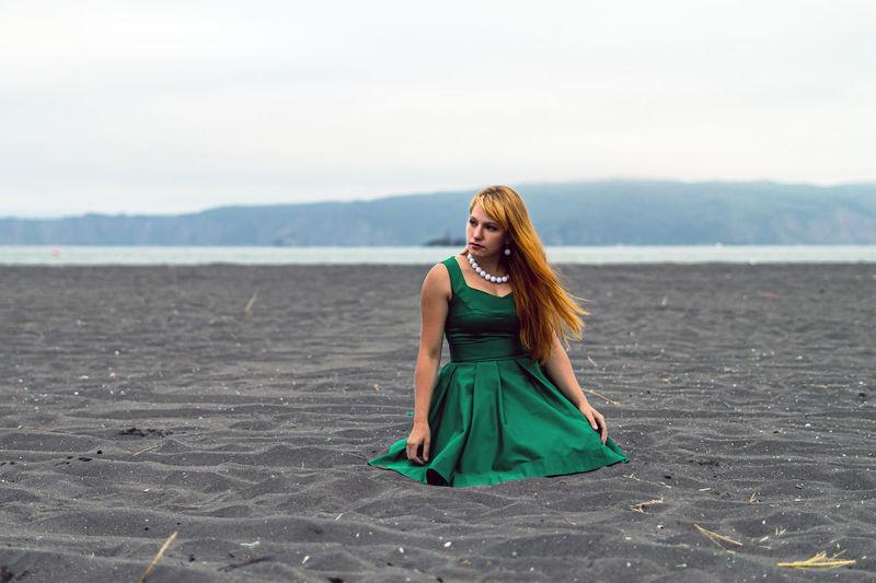 Beautiful woman relaxing at beach