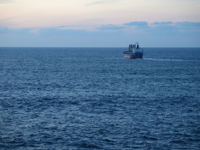No Filter No Filter, No Edit, Just Photography The Purist (no Edit, No Filter) No Edit/no Filter Canon Canonphotography SPAIN Galicia Ship Evening Sea Traveling Starting A Trip Blue Blue Sky Landscapes With WhiteWall