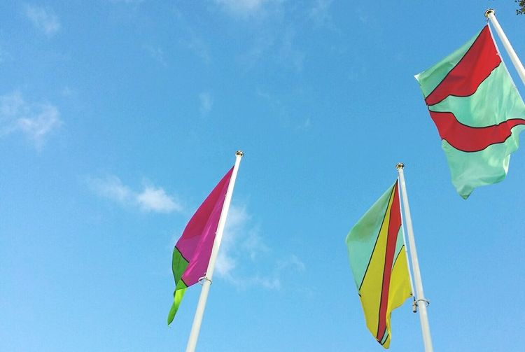 Finding Everyday Joy in the simple things of life. Blue Sky and Flags blowing in the wind. EyeEm Best Shots