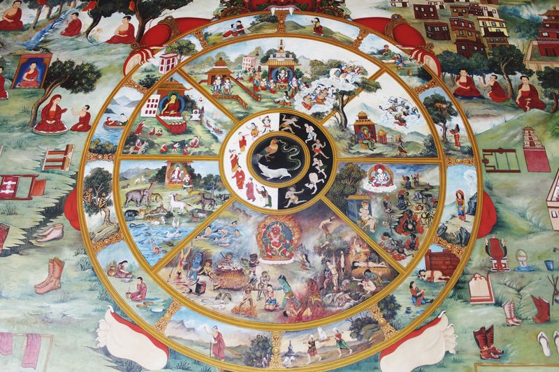 Artistic Painting Painted The Life Cycle Of Lord Buddha Lord Of Peace World Heritage Site By UNESCO Lumbini Nepal