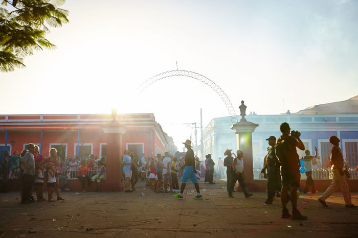 Christmas Eve celebrations in Remedios, Cuba. Adult Christmas Eve Cuban Life Day Enjoyment Fireworks Large Group Of People Leisure Activity Lifestyles Men Outdoors Parrandas De Remedios People Real People Sky Travel Destinations Women
