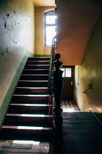 Old Berlin hallway Hallway Sunlight Apartment Building Architecture Building Built Structure Day Empty Flooring Full Length Home Interior House Indoors  Light And Shadow Old Railing Staircase Standing Steps And Staircases Sunlight Wall - Building Feature Window