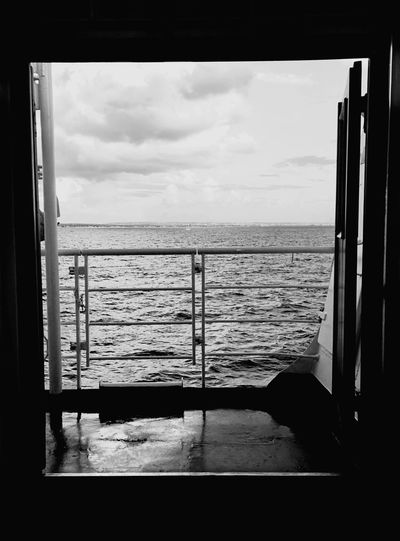 Boat Water Sea Cloud - Sky Looking Through Window Horizon Over Water Sky Window Mediterranean  No People Sail Island Sicily Favignana's Sea Blackandwhite Live For The Story