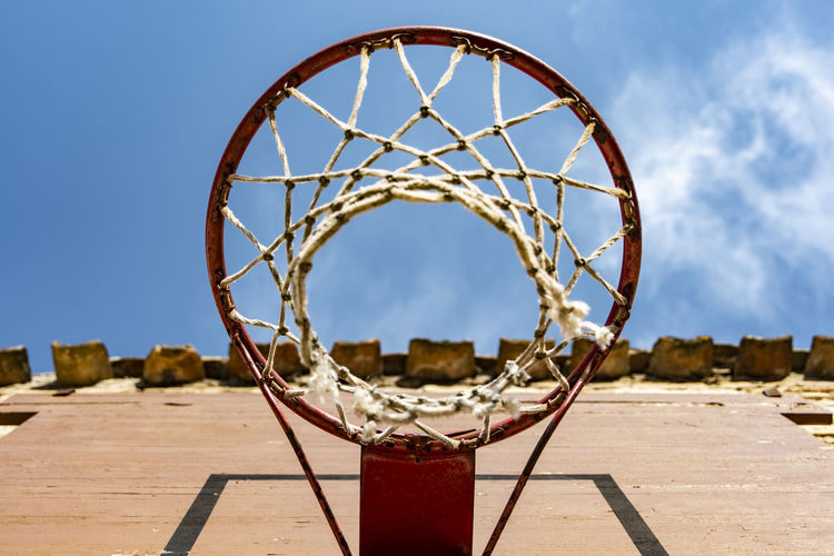 Close-up of basketball hoop against sky