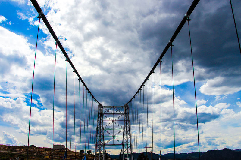 Low Angle View Of Royal Gorge Bridge Against Cloudy Sky