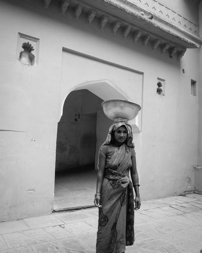 Balance Architecture Balance Blackandwhite Day Happy Humble India Lifestyles One Person Outdoors People Portrait Streetphotography Travel Woman Work Women Around The World