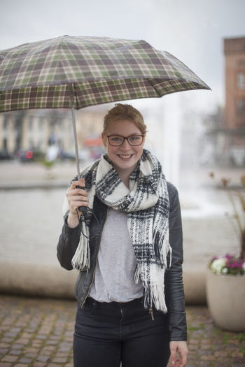 Portrait Raining Scarf Student Young Woman