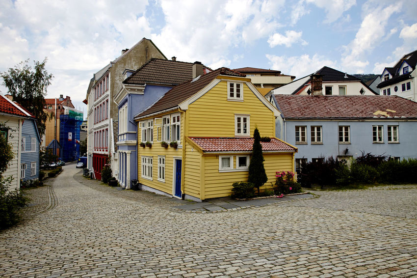 Bergen Houses (Yellow and Blue tones). Cityscape. Norway Architecture Bergen Blue Building Exterior Built Structure City Cityscape Day House Housing Development Multi Colored No People Nordic Light Norway Outdoors Scan Scandinavia Scandinavian Sky Street Suburb Wooden Post Yellow