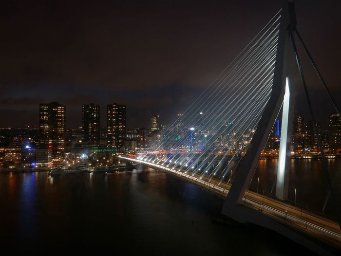 Skyline of Rotterdam Rotterdam Illuminated Architecture Night Built Structure Building Exterior Skyscraper City Cityscape Travel Destinations Modern Water No People River Urban Skyline Downtown District Waterfront Sky Outdoors